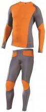 Funkční spodní prádlo VISBY komplet triko dlouhý rukáv a spodky šedo/oranžové velikost L