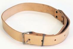 Silný kožený opasek z hlazenice šíře 4 cm délka 125 cm světlý