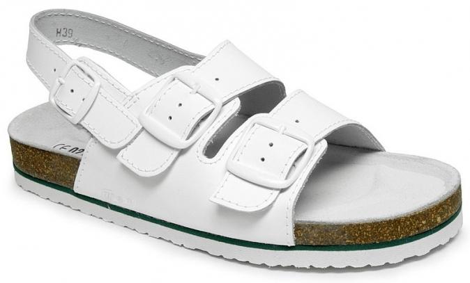 Obuv MAX pánský pantofel korková podešev pásek přes patu bílý velikost 46