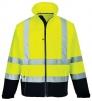 Bunda CONTRAST 3L Softshell reflexní pruhy výstražná žlutá/tmavě modrá velikost XL