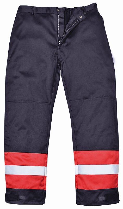 Kalhoty BIZFLAME PLUS do pasu antistatické nehořlavé reflexní pruhy tmavě modré/červené velikost M
