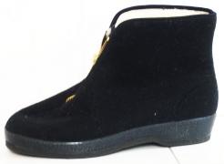 Obuv DŮCHODKA nízká na kotníky filcový svršek zip na nártu černá