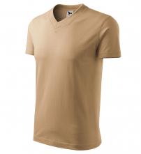 """Tričko V-neck 160 bavlna průkrčník do """"V"""" krátký rukáv pískové"""
