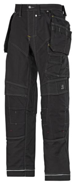 Kvalitní pracovní kalhoty Snickers XTR Canvas+ přídavné kapsy Cordura černé velikost 56