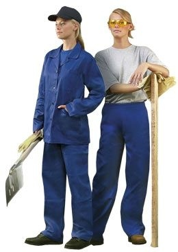 Dámské montérkové kalhoty HELA do pasu středně modré velikost 40