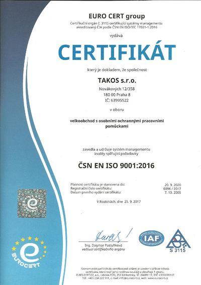 Takos® - Certifikát managmentu kvality ČSN EN ISO 9001:2016