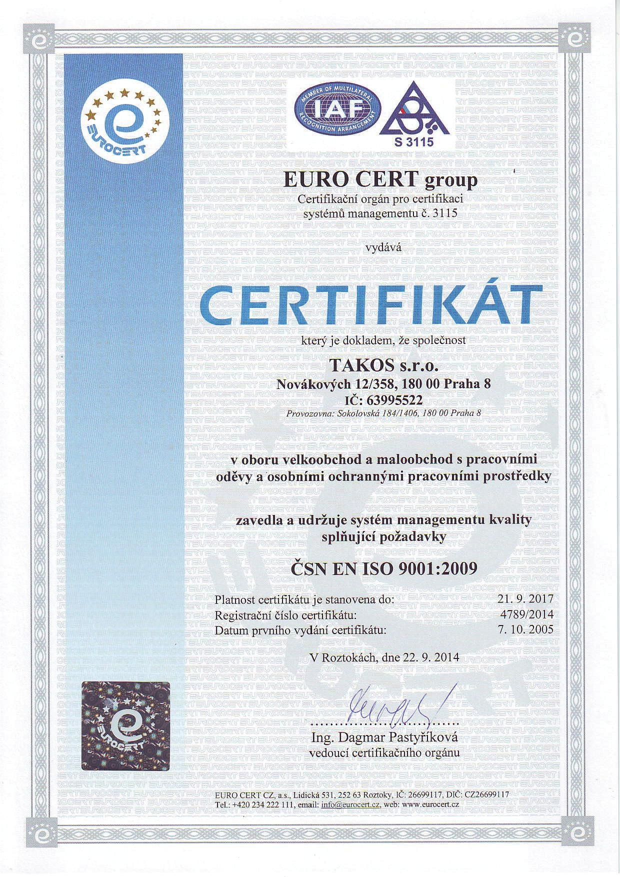 TAKOS - Certifikat ČSN EN ISO 9001:2009