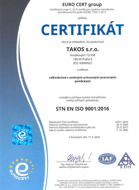 Takos® - Certifikát managmentu kvality STN EN ISO 9001: 2016