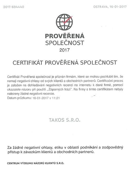 Takos - Certifikát