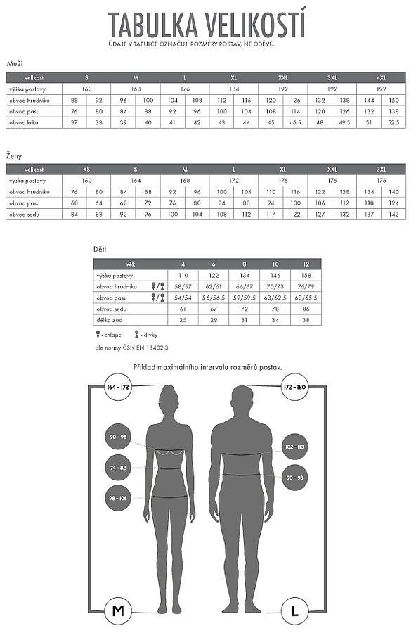 Takos - Velikosti pracovní a reklamních oděvů