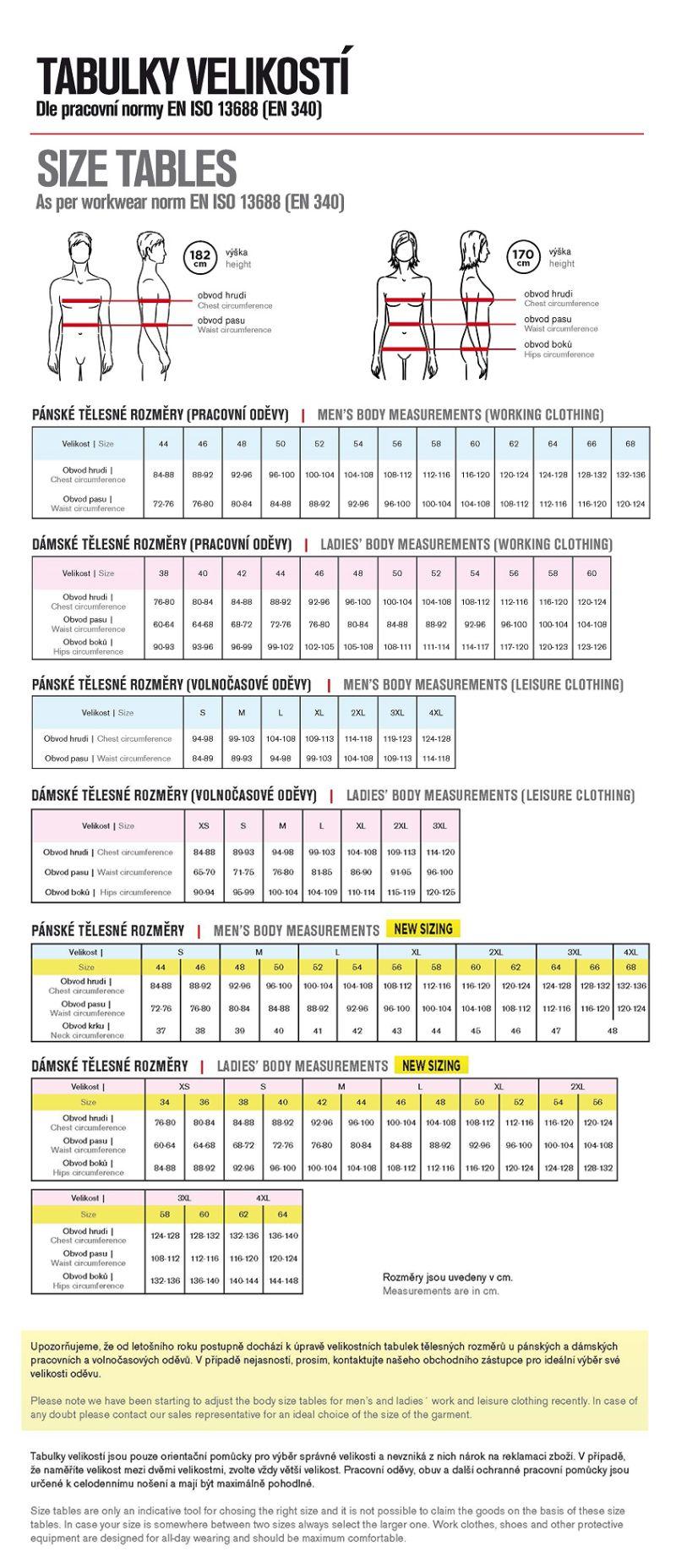 Takos® - Tabulka velikostí pánských a dámských pracovních a oděvů CXS