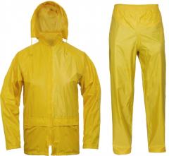 Oblek Cerva CARINA PES/PVC voděodolný blůza s kapucí na zip a kalhoty do pasu žlutý