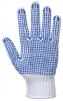 Rukavice PW Polka Dot Fortis pětiprsté pletené PES/bavlna modré PVC terčíky v dlani a na prstech pružný náplet bílé