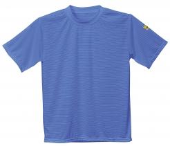 Antistatické pracovní tričko PW ESD BA/uhlík kulatý průkrčník krátký rukáv se štítek s normou světle modré