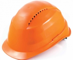Ochranná přilba ROCKMAN C6 HDPE zesílený vrchlík 12 ventilačních otvorů látkový kříž protažená v zátylku oranžová