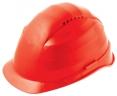 Ochranná přilba ROCKMAN C6 HDPE zesílený vrchlík 12 ventilačních otvorů látkový kříž protažená v zátylku červená