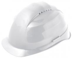 Ochranná přilba ROCKMAN C6 HDPE 12 ventilačních otvorů látkový kříž bílá