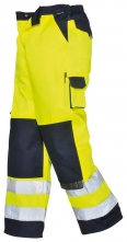 Montérkové kalhoty TEXO Hi-Vis do pasu 2 reflexní pruhy žluto/modré