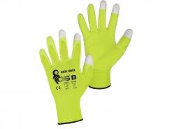 Rukavice CXS Brita Touch nylonový úplet máčený v PU kontaktní konečky prstů pro dotykový displej žluté