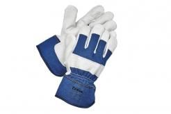 Rukavice CERVA EIDER kombinované zesílené modrá bavlna/hovězí štípenka