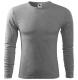Tričko Malfini Fit-T LS 160 bavlna/viskóza dlouhý rukáv pánské kulatý průkrčník tmavě šedý melír
