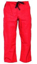 Montérkové kalhoty KLASIK do pasu na šňůrku bavlna červené
