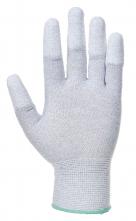 Rukavice  PU Fingertip ESD pylon/uhlík/PU bezešvé antistatické máčené špičky prstů šedé