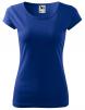 Tričko Pure 150 bavlněné dámské krátký rukáv kulatý průkrčník projmuté středně modré