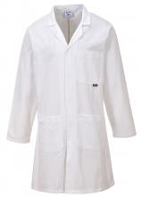 Plášť PW STANDARD bavlna náprsní kapsa 2 kapsy u pasu kryté zapínání na cvoky bílý