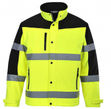 Bunda PW DUO COLOUR 3L Softshell/Micro Polar Fleece reflexní pruhy krytý zip HV žluto/černá
