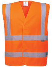 Výstražná vesta PW Two Band & Brace 2 vodorovné a 2 svislé reflexní pruhy HV oranžová
