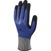 Rukavice DELTA PLUS DELTANOCUT® protiřezné pletené 2x máčené nitrilem pružná manžeta modro/černé