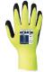 Rukavice PW HiVis Grip pletený nylon/drsná latexová pěna prodloužená pružná manžeta žluto/černé