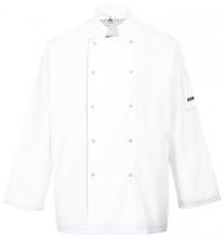 Kuchařský dvouřadý rondon SUFFOLK CHEFS s dlouhým rukávem zapínání na patentky bílý