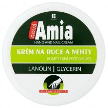 Krém nová AMIA na ruce a nehty zvláčňující obsahuje lanolin a glicerin dóza 250 ml bílá