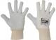 Pracovní rukavice CERVA PELICAN Plus pětiprsté kombinované plátno/kozinka pružná manžeta šedo/bílé