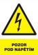 """Tabulka """"POZOR POD NAPĚTÍM"""" plastová rozměr 210 x 297 mm symbol blesku v trojúhelníku žluto/bílo/černá"""