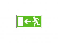 """Tabulka se symbolem """"Únikový východ vlevo"""" fotoluminiscenční samolepící rozměr 210 x 105 mm nápis zeleno/bílá"""