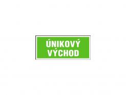 """Tabulka s nápisem """"ÚNIKOVÝ VÝCHOD"""" fotoluminiscenční samolepící rozměr 210 x 87 mm zeleno/bílá"""