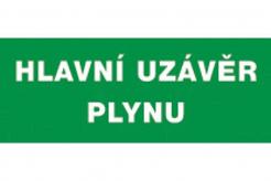 """Tabulka """"HLAVNÍ UZÁVĚR PLYNU"""" plastová rozměr 210 x 87 mm nápis zeleno/bílá"""