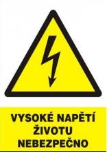 "Tabulka ""Vysoké napětí životu nebezpečno"" plastová rozměr 210 x 297 mm symbol trojúhelníku s bleskem žluto/bílo/černá"