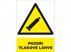 """Tabulka """"POZOR! TLAKOVÉ LAHVE"""" plastová rozměr 210 x 297 mm symbol trojúhelníku s tlakovou lahví žluto/bílo/černá"""