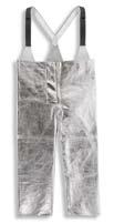 Ochranné žáruodolné kalhoty K-370/Abz pokovené slévačské rozparek integrované šle délka 115 cm stříbrné