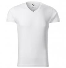 Tričko Malfini SLIM V-Neck 180 pánské bavlněné průkrčník do V krátký rukáv přiléhavý střih s bočními švy bílé