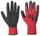 Rukavice PW Flex Grip pletené z nylonu máčené v latexu ergonomický tvar elastická manžeta červeno/černé