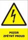 """Tabulka """"POZOR ZPĚTNÝ PROUD"""" plastová rozměr 210 x 297 mm symbol blesku v trojúhelníku žluto/bílo/černá"""