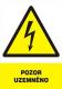 """Tabulka """"POZOR UZEMNĚNO"""" plastová rozměr 210 x 297 mm symbol blesku v trojúhelníku žluto/bílo/černá"""