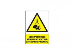 """Tabulka """"Nebezpečí úrazu pádem nebo pohybem zavěšeného předmětu"""" plastová rozměr 210 x 297 mm symbol trojúhelníku a zavěšeného břemene na háku žluto/bílo/černá"""