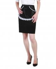 Zástěra TD KARLA dámská pro servírky 100% PAD do pasu kapsičky okraj bílá krajka černá