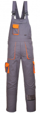Montérkové kalhoty PW TEXO Contrast s náprsenkou šle BA/PES šedo/oranžové